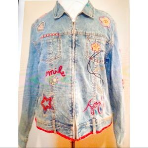 Chicos' Embroidered Jean Jacket, Size M